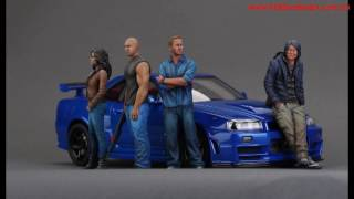 Fast Furious 7 resin figures and Nissan R34 diecast