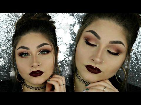 Burgundy Smokey Eyes Makeup Tutorial | BeautyByJosieK | Dark Lips Makeup