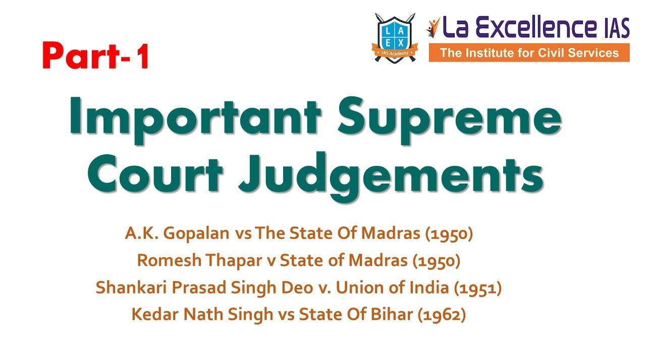 Part 1|| 50 Important Supreme Court Judgements|| Polity Value Addition ||Mana La Excellence