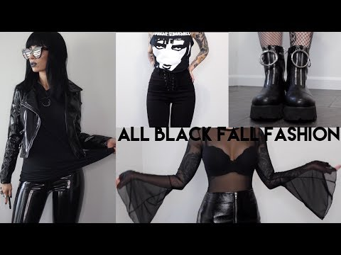 ALL BLACK Fall Fashion Look Book Haul | Missguided, Revolve