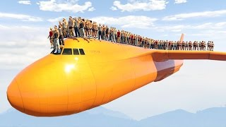 1000 PEOPLE STANDING ON THE PLANE! (GTA 5 Mods)