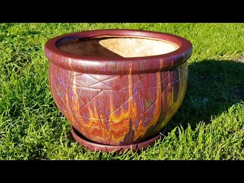 214 UpCycle an old Plant Pot with Acrylic Pouring - Easy and Fun