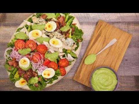 Gem Lettuce and Rotisserie Chicken Cobb Salad with Avocado Green Goddess Dressing