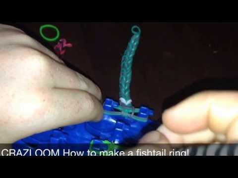 CRAZLOOM How to make a rubber band fishtail ring, bracelet or necklace!