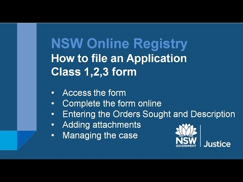 NSW Online Registry - File an Application Class 1,2,3 with the Land and Environment Court