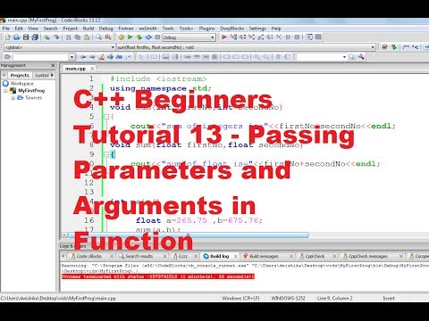 C++ Tutorial for Beginners 13 - Passing Parameters and Arguments in Function