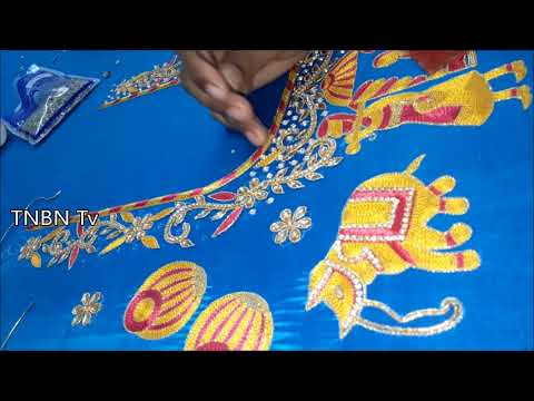 blouse embroidery designs tutorial  | simple maggam work blouse designs | hand embroidery designs