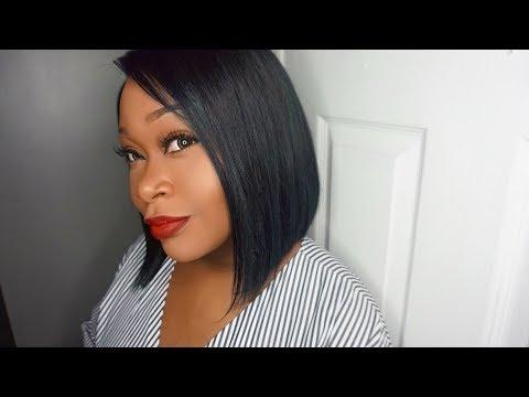 2 Bundles & Lace Closure Wig   DIY Blue/Black Haircolor & Blunt Cut Bob Hairstyle   Honeyhairco
