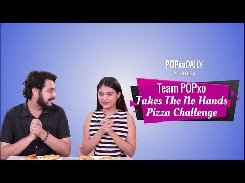 Team POPxo Takes The No Hands Pizza Challenge - POPxo