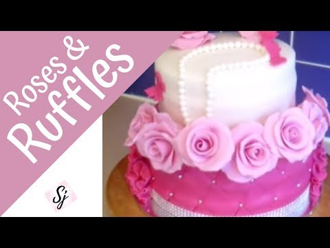 How to make a FONDANT ROSE & RUFFLES, Quilted cake tutorial