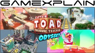 All 4 Super Mario Odyssey Kingdoms in Captain Toad: Treasure Tracker Gameplay (Nintendo Switch)