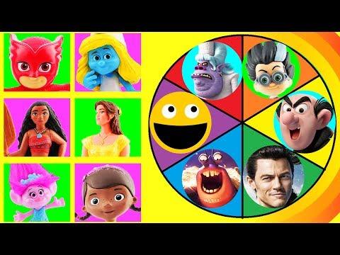 Spin The Wheel Game w/ Smurfette, Poppy, Belle, Moana, Owlette, Elena of Avalor VS Evil Villains!