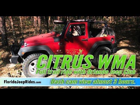 Citrus Trail Ride - Full dash cam view March 2018 With Orlando Jeep Club