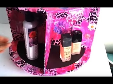 {DIY} Makeup Spinner   Cardboard Storage