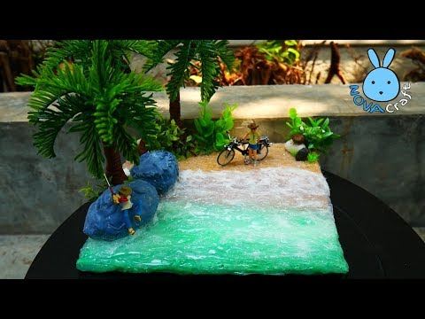 Hot Glue Realistic Sea Beach Fisherman under Coconut Tree Diorama Tutorial - Hot Glue NOVA Craft