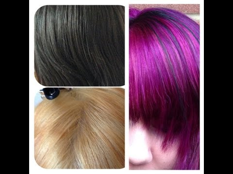 Black to bleach to purple / pink hair tutorial