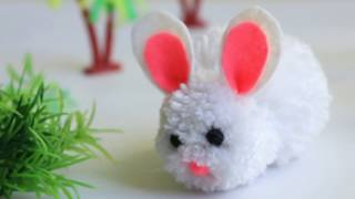 DIY Pompom Bunny|Easter bunny craft for kids|Cute Easter Rabbit|How to make a Bunny|sapnacreations