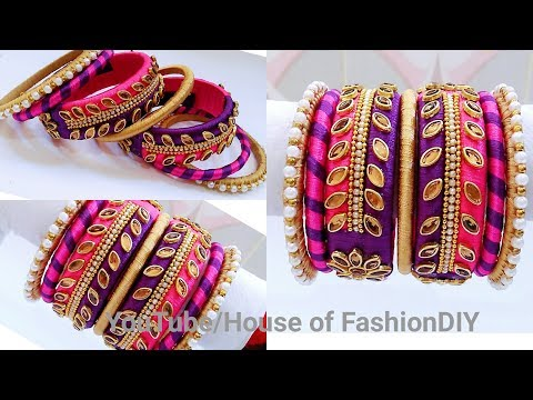 How  To Make Double Colour Thread Bangles/Pink & Violet Colour Silk Thread Bangles..!