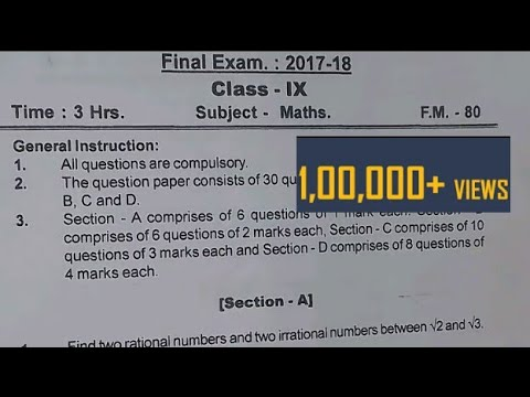 CBSE Class 9 Final Exam Paper 2017-18(Maths)