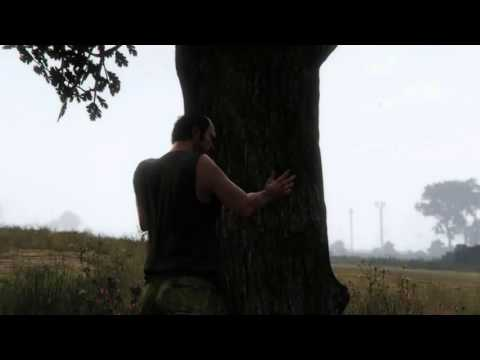 GUY TRYING TO CHOP DOWN TREE WITH HEAD