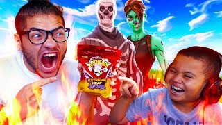 1 KILL = EXTREME SPICY CANDY CHALLENGE WITH NO WATER!! *ALMOST DIED* 10 YEAR OLD BROTHER FORTNITE!
