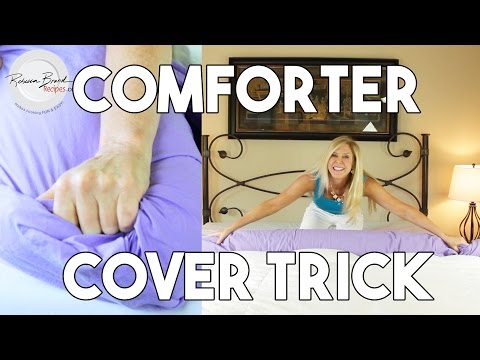 How to Put on a Duvet Comforter Cover By YOURSELF Fast,  No Pins, Step by Step, Close Ups,