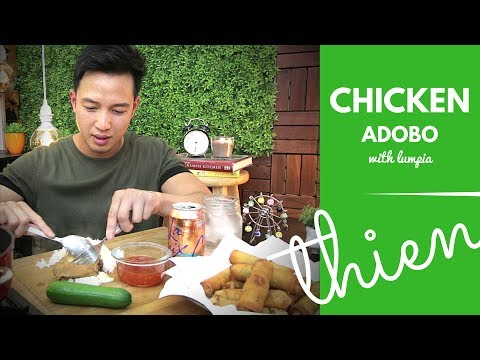 [mukbang/cookbang with THIEN]: Filipino Chicken Adobo and Lumpia (Pork & Vegetables Egg Rolls)