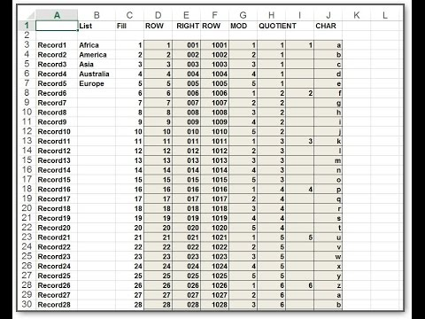 Autonumbering of Records in an Excel Spreadsheet