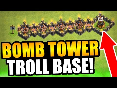 Clash Of Clans - BOMB TOWER TROLL BASE ACTUALLY WORKS! - NEW TROLL BASE DEFENSE!