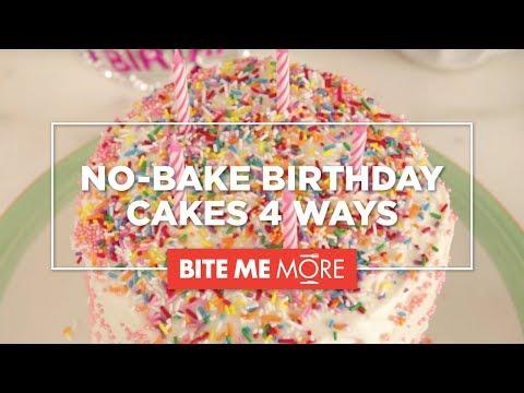 EASY DESSERT RECIPE - No-Bake Birthday Cake 4 Ways
