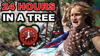 24 HOUR OVERNIGHT CHALLENGE IN A TREE DURING A WIND STORM (Day 2 of 7) | JOOGSQUAD PPJT