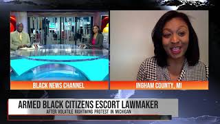 Rep. Sarah Anthony discuss armed escorts at Michigan state capitol