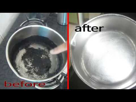 how to clean a burnt stainless steel pot //utensil quick cleaning burnt pot....