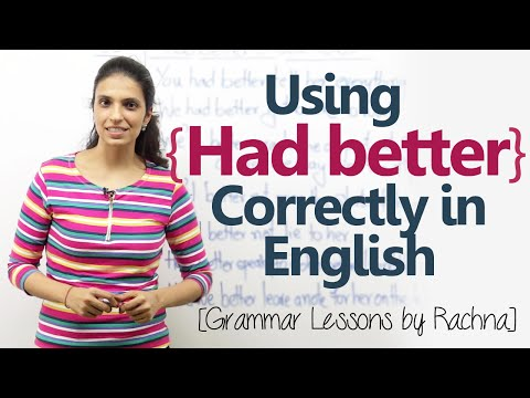 Using  the modal verb 'Had better' in English conversation – English Grammar Lesson