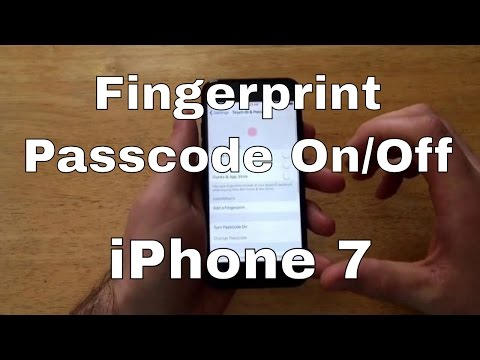 How to Turn Fingerprint Passcode on/off - iPhone 7/7+