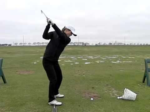 ProStance staff player Beatriz Recari hitting a perfect 7 iron on ProStance