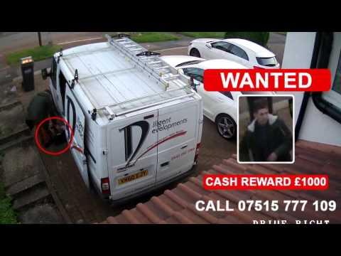 Thief steeling tools from Ford Transit van in Croydon 2016