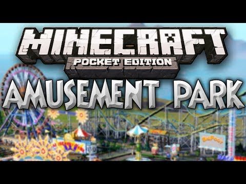 Awesome Amusement Park w/ Waterslides and Rollercoasters - Minecraft Pocket Edition Map