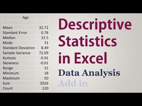 Descriptive Statistics in Excel  Mean, Median, Mode, Std. Deviation,...