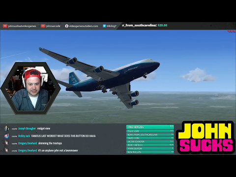 LEARNING TO FLY A 747 IN FLIGHT SIMULATOR X LIVE - i suck!!!