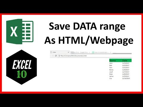 How To Export A Range Of Data From Excel To HTML Or Web Page File