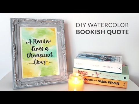 DIY Watercolor Bookish Quote | How to Make Fake Calligraphy | Gift Making Vlog