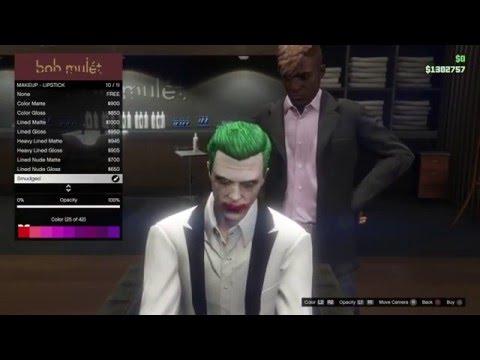Grand Theft Auto 5 Online Suicide Squad Joker Makeup / Hair / Look tutorial