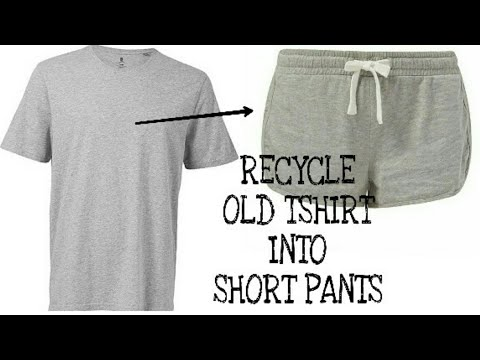 RECYCLE OLD MENS TSHIRT INTO GIRLS SHORT PANTS~ HOT PANTS FROM OLD TSHIRT