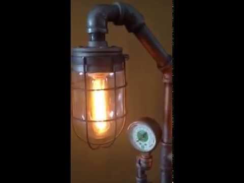 Vintage, Industrial, Steampunk style black pipe lamp