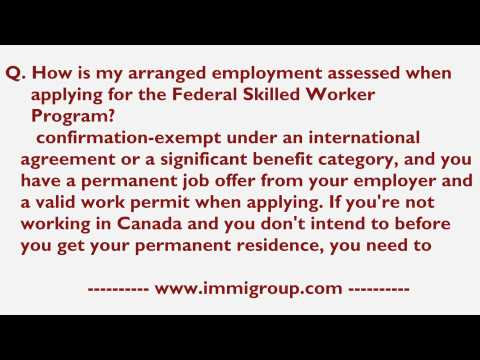 How is my arranged employment assessed when applying for the Federal Skilled Worker Program?