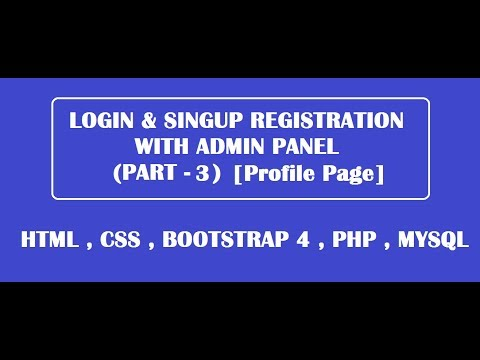 Profile page with login form using html,css,bootsrtrap,php,mysql [ Part - 3 ]