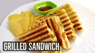 Grilled Sandwich Recipe - Veg Grilled Cheese Sandwich by Lata