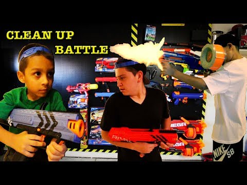 CLEAN UP BATTLE with NERF RIVAL GUNS