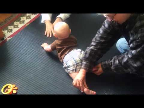 Helping a 5 Month Old to Belly Crawl